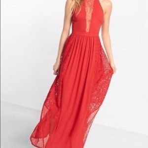 NWT EXPRESS pieces lace red maxi dress